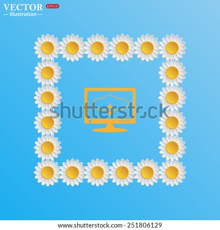 On a blue background with white daisies.  cloud storage on the computer, vector illustration, EPS 10 - stock vector