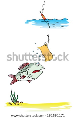 On a fishing hook message to the fish. Vector illustration.