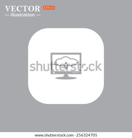 On a gray background gray icon,  cloud storage on the computer, vector illustration, EPS 10 - stock vector