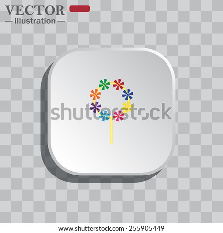 On a gray background white square with rounded corners. icon  Children's toy wind mill, turntables, pinwheel wind vane, vector illustration, EPS 10 - stock vector
