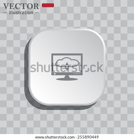 On a gray background white square with rounded corners. icon  cloud storage on the computer, vector illustration, EPS 10 - stock vector