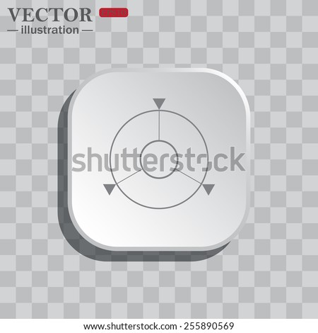 On a gray background white square with rounded corners. icon  GPS navigation,  vector illustration, EPS 10 - stock vector