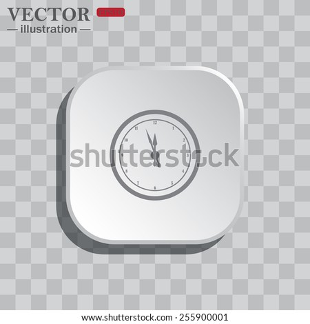 On a gray background white square with rounded corners. icon  mechanical clock. Vector illustration, EPS 10  - stock vector