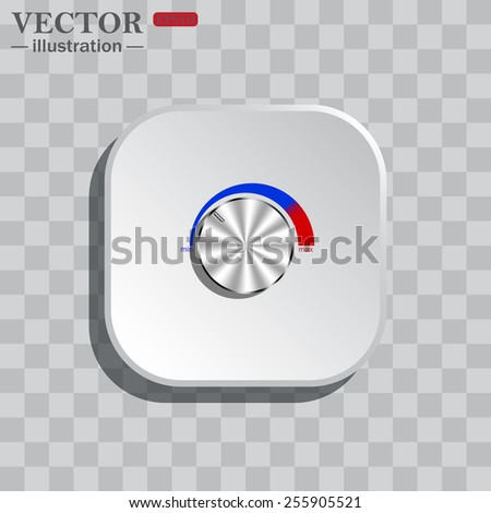 On a gray background white square with rounded corners. icon  metal volume control, red, blue, light, vector illustration, EPS 10 - stock vector