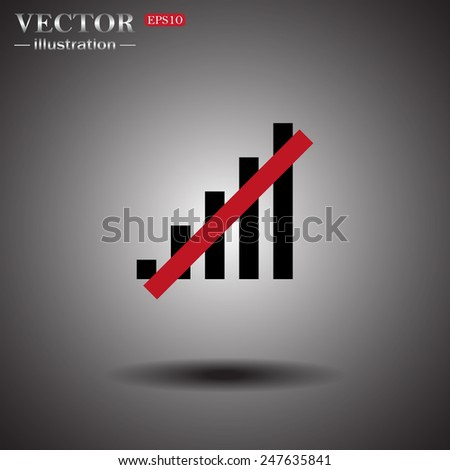 On a gray background with shadow. no signal, poor signal strength, signal strength indicator, vector illustration, EPS 10 - stock vector