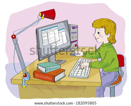 On a table there is a computer, a desk lamp, the dictionary, the encyclopaedia. Illustration done in cartoon style. - stock vector