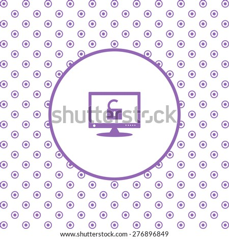 On a white background pink circles. Computer access is open. icon. vector design - stock vector