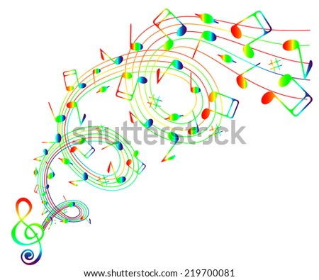 On a white background wave of iridescent notes and treble clef . - stock vector