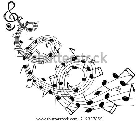 On a white background wave of notes and treble clef .