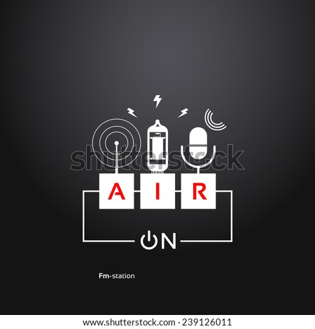 on air, abstract background power button, microphone, vacuum tube and a radio antenna. Radio theme - stock vector