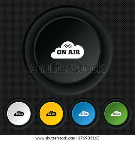 On air sign icon. Live stream symbol. Round colourful buttons on black texture. Vector - stock vector