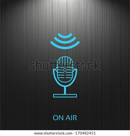 on air, sign, microphone icon on a dark background for your design - stock vector