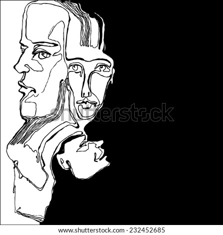 on an abstract face on a black background - stock vector
