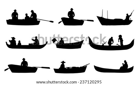 on boat silhouettes on the white background - stock vector