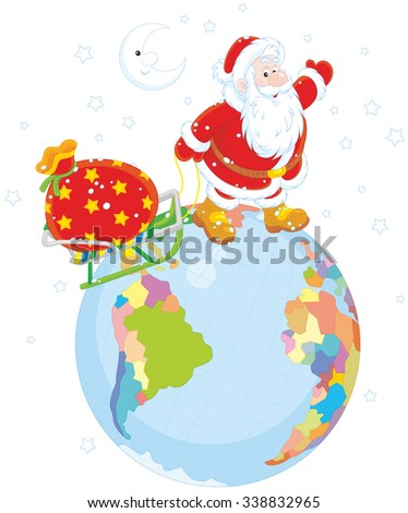 On Christmas eve Santa Claus going on a globe and pulling a sack of gifts on his sled - stock vector