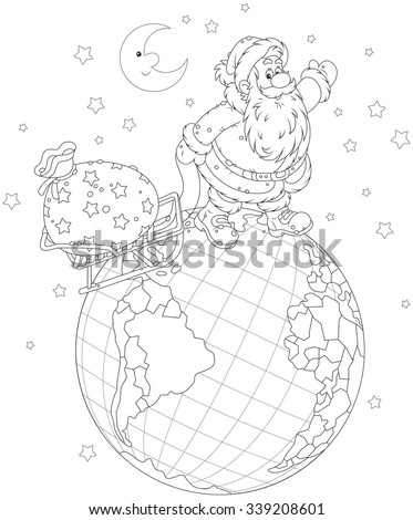 On Christmas eve Santa Claus going on a globe and pulling a sack of gifts on his sled, a black and white vector illustration