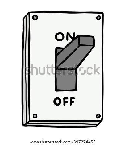 On electric switch / cartoon vector and illustration, hand drawn style, isolated on white background. - stock vector