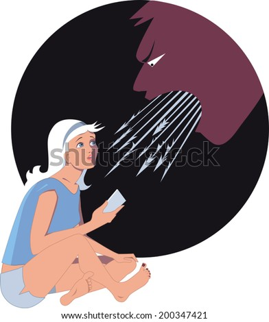 On-line bullying. Young girl with a smart phone scared of a monster with harpoons coming out of its mouth, symbolizing hurtful words - stock vector