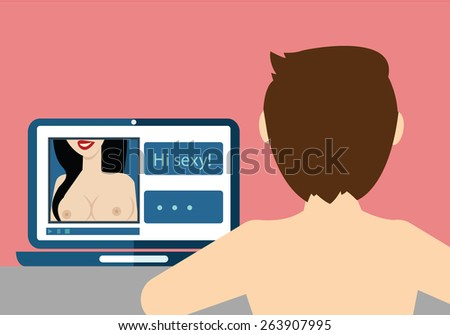 On line dating, sexy chat vector illustration - stock vector
