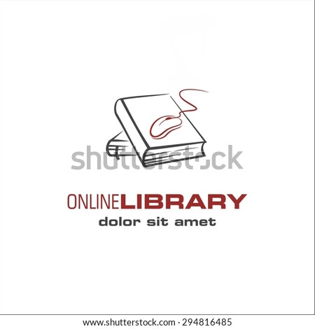 On line library - stock vector