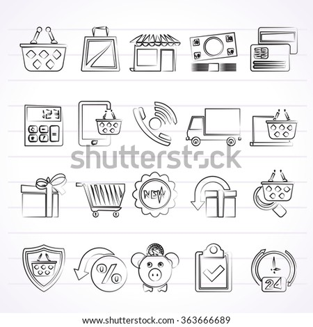 on line shop and E-commerce icons - vector icon set - stock vector