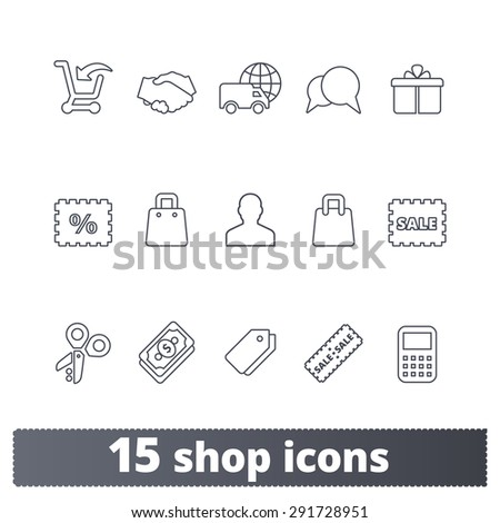 On-line shop thin line icons: vector set of shopping, commerce, business, delivery signs. Outline series. - stock vector