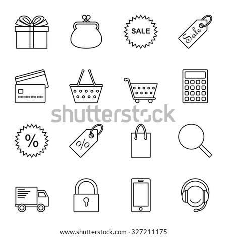 On line shopping icons. Black and white thin line transparent icons.