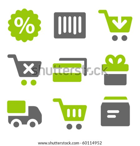On-line shopping web icons, green grey solid icons - stock vector