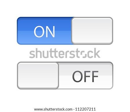 On Off switch slide button on white - stock vector
