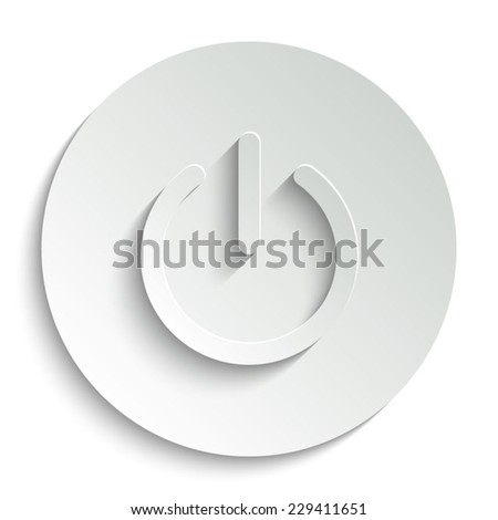 On/Off switch -  vector icon with shadow on a round button - stock vector