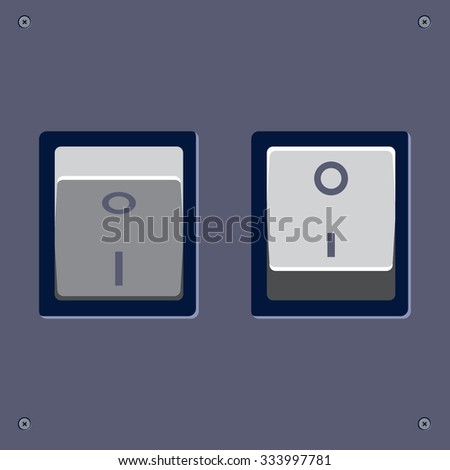 On/ Off switch. Web, interface vector animated button.