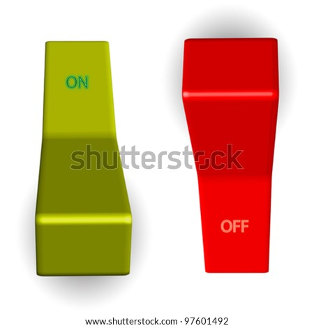 on off switches against white background, abstract vector art illustration - stock vector