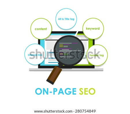 on page seo search engine optimization on-page - stock vector