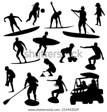 On the beach silhouette set - stock vector