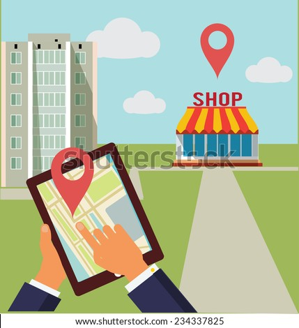 On the city street  hands hold the tablet with map and location symbol. - stock vector