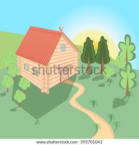 On the horizon rises the sun on the meadow is a wooden house with a red roof. From the house, road, trees are green - stock vector