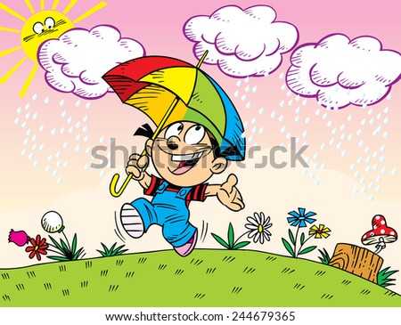 On the illustration of a girl with an umbrella walks in the summer rain.  Illustration done in cartoon style, on separate layers. - stock vector