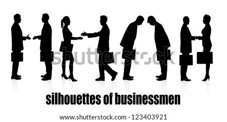 on the image silhouettes a meeting of business people are presented
