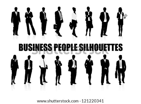 on the image silhouettes of people of business are presented - stock vector
