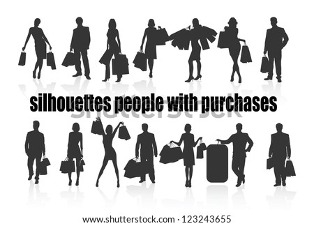 on the image silhouettes of people with purchases are presented - stock vector