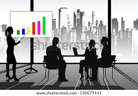 on the image the presentation of the businessman is presented - stock vector