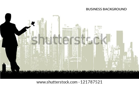 on the image the silhouette of the businessman on an abstract background is presented - stock vector