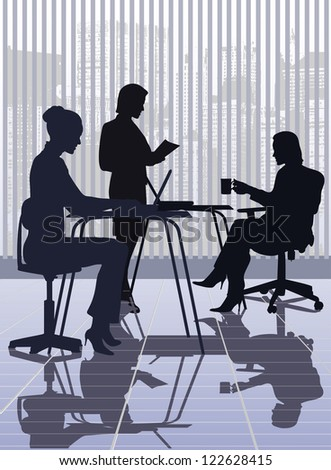 on the image work at office is presented - stock vector