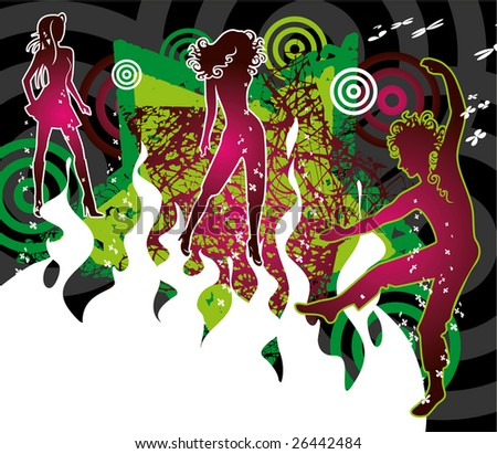 On the vector diagram are depicted dancing - stock vector