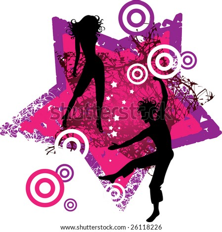 On vector illustration depicts the silhouette dancers - stock vector