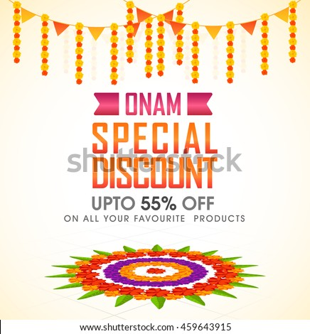 Onam Special Discount with Upto 55% Off, Creative Poster, Banner or Flyer design decorated with colorful rangoli for South India Festival celebration.