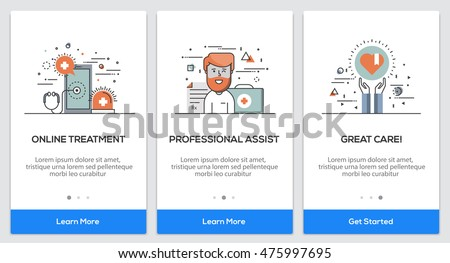 Onboarding Medical app Screens. Modern user interface UX, UI screen template for mobile smart phone or responsive web site. Vector Illustration