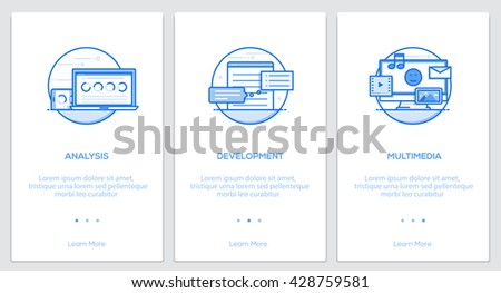 Onboarding Screens User Interface Kit. Modern user interface UX, UI screen template for mobile smart phone or responsive web site. Vector Illustration - stock vector