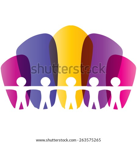 oncept of community unity,solidarity & friendship- vector graphic. This logo template can also represent colorful kids playing together holding hands together  - stock vector