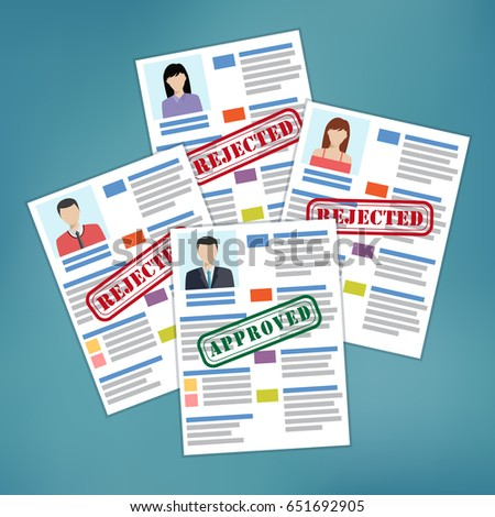 approved rejected resumes candidate selection good stock vector